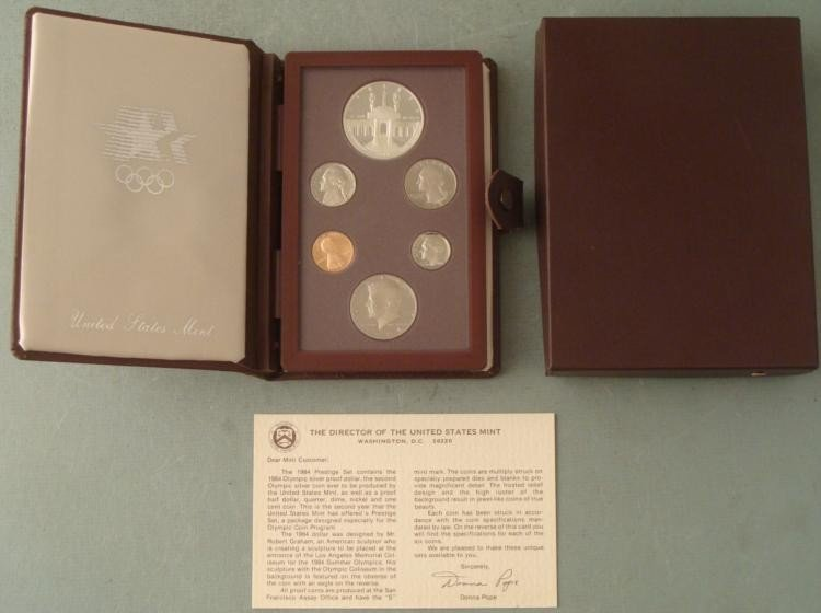 1984 US Mint Olympic Prestige Set w/Silver Dollar, COA