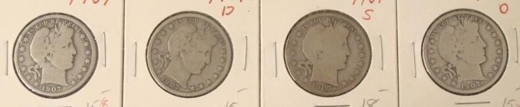4 Barber Silver Half Dollars 1907, 07-D, 07-S, 07-O
