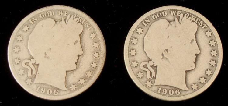 2 Barber Silver Half Dollars 1906-O & 1906-D