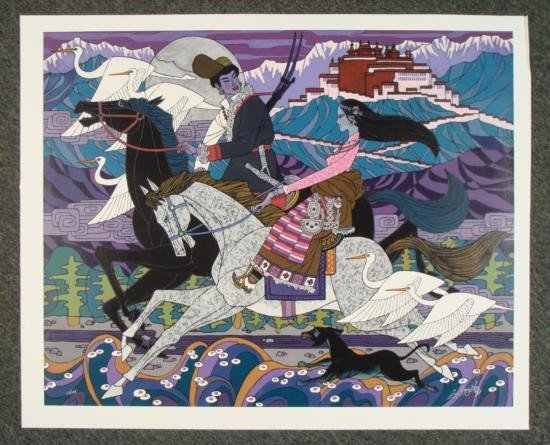 Zu Ming Ho Signed LE Canvas Art Print Budhala Palace