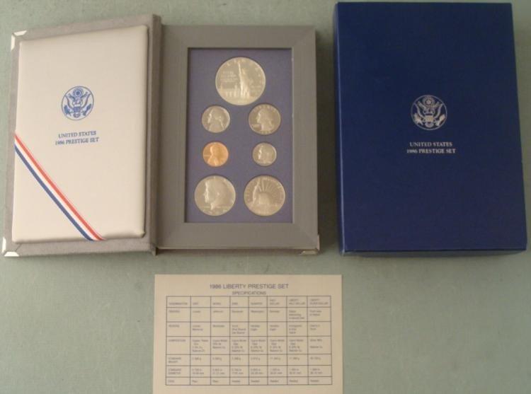 1986 US Mint Liberty Prestige Set w/Silver Dollar, COA