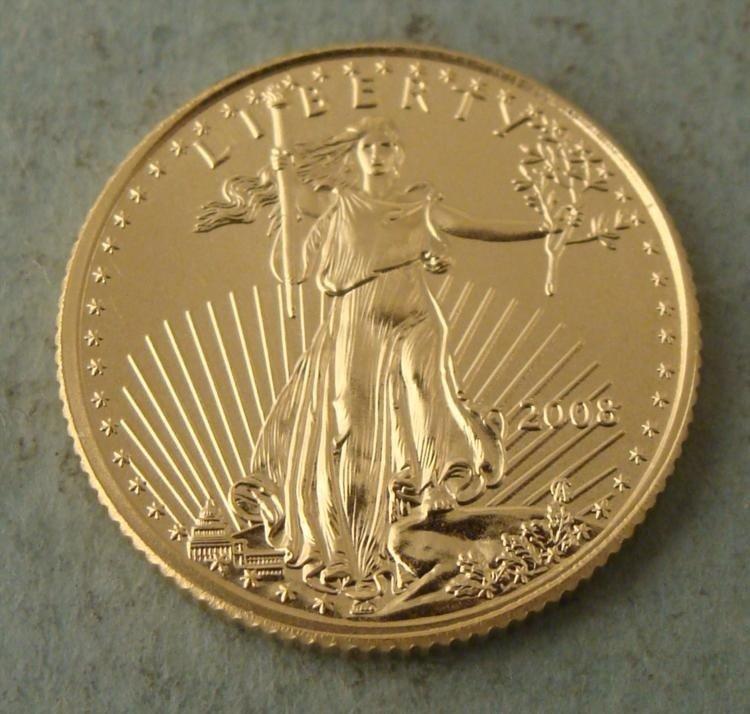 2008 $5 Gold Eagle Coin UNC 1/10th Oz.