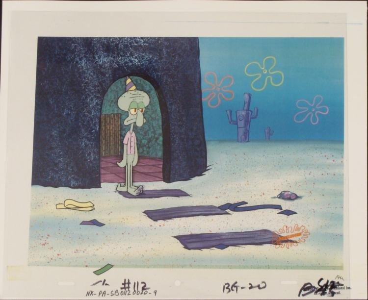 Original Cel Birthday Animation Background Spongebob