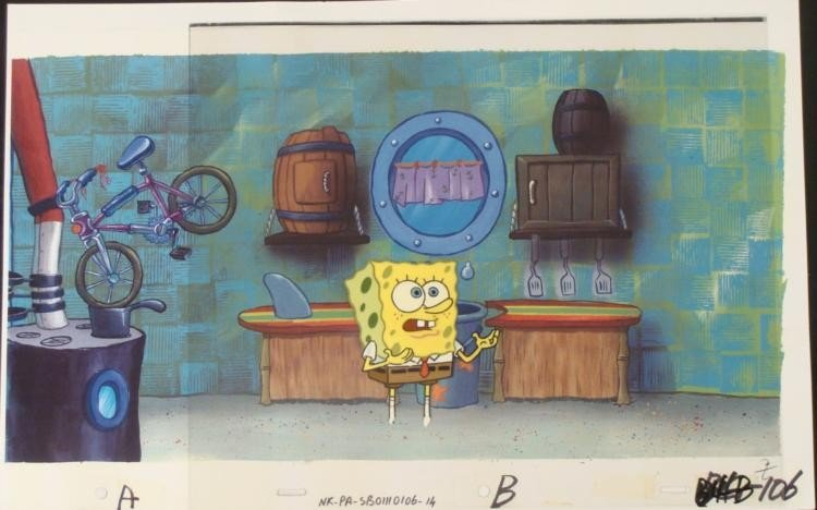 SpongeBob Confused Original Cel Production Background