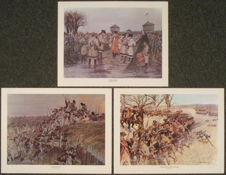 3 Historic Prints Soldiers of the American Revolution