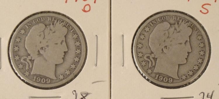 2 Barber Silver Half Dollars 1909-O, 1909-S,Some Detail