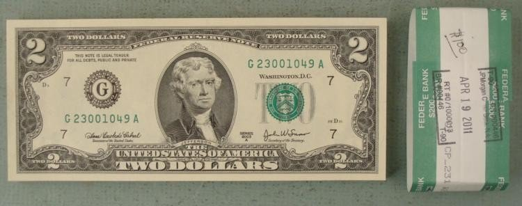 50 Consecutive # New Bank Wrapped 2003A $2 Bills G Mint