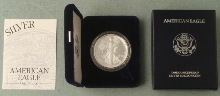 2005 American Silver Eagle Dollar $1 Proof w/Box, COA