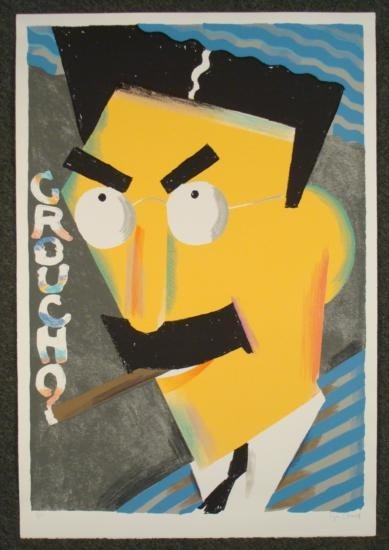 Seymour Chwast Signed Print Groucho Marx Brothers Art