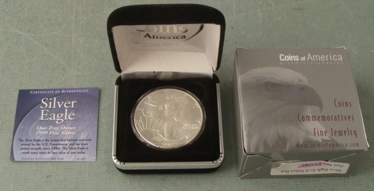 1996 American Silver Eagle Dollar $1 Gem UNC w/Box, COA
