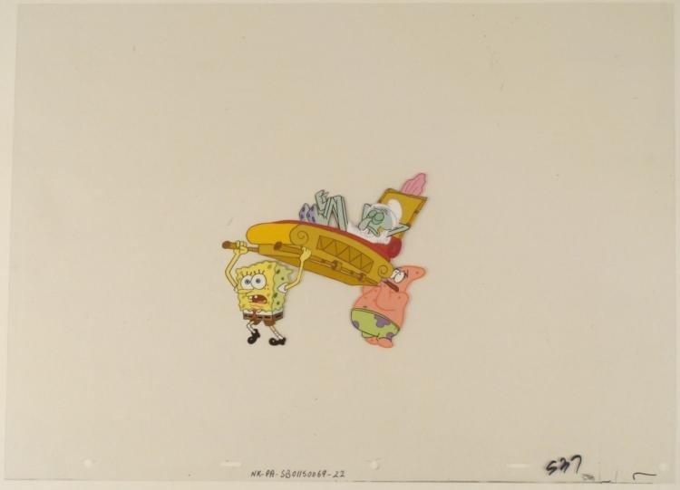 Animation Spongebob Art Too Heavy Cel Original