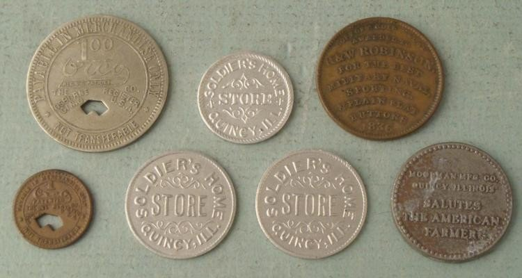 7 Antique Store/Trade Tokens Coal Soldier Moorman 1800s
