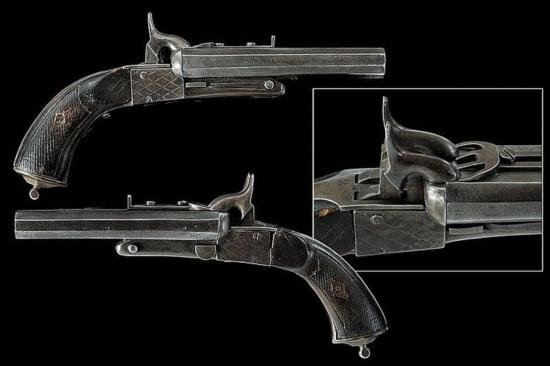 A pair of double-barrelled pin-fire pistols