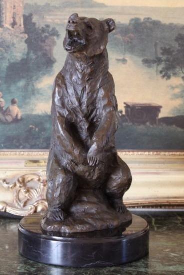 Striking Bronze Sculpture Grizzly Bear