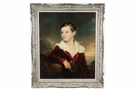 Oil on Canvas - Portrait of Young Boy in Red Velvet Jac