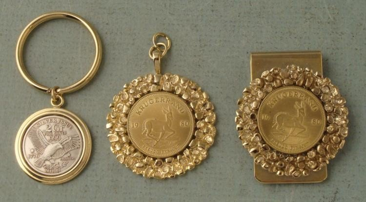 3 Coins 1980 Krugerand,1873 Silver Issue Pendant, Clip