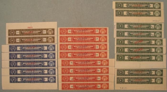 24 Colombia Specimen Tax Stamps 1, 2, 5, 50 Centavos