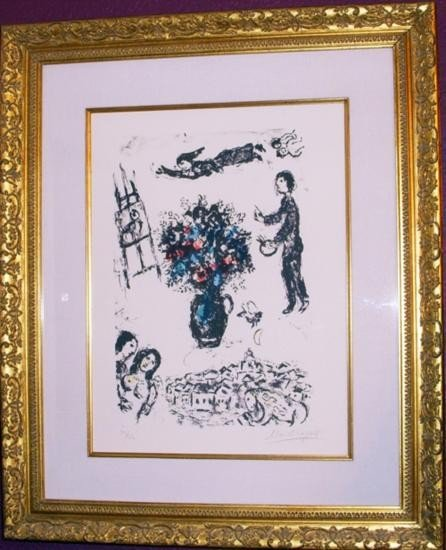 Bouquet Over The Town by Marc Chagall S/N