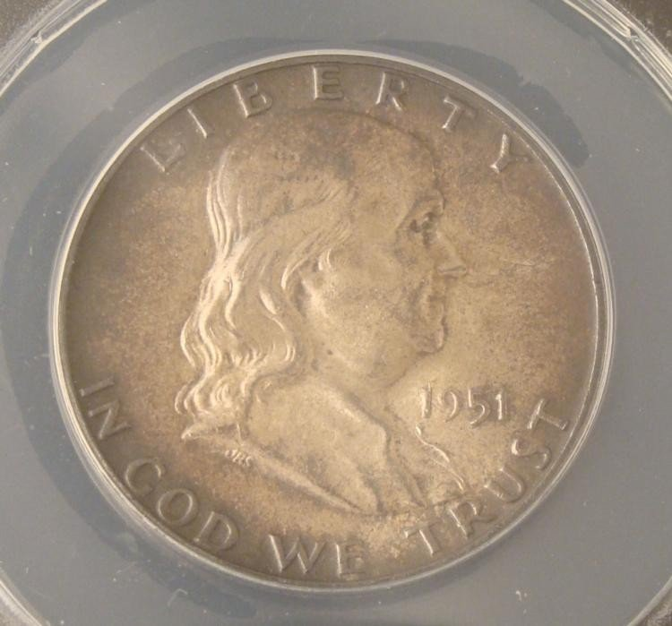 1951 Franklin Half Dollar MS63 ANACS Certified Toned