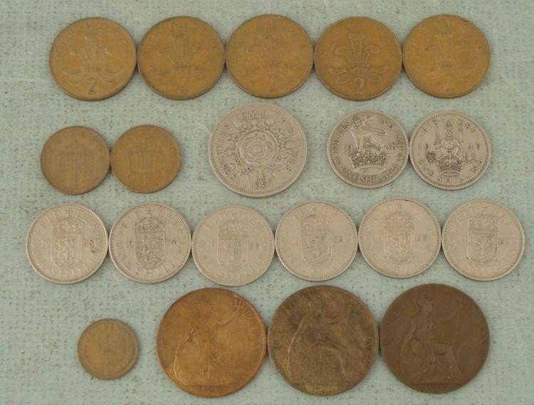 20 Great Britain Coins Shilling, New Pence 1900-1962
