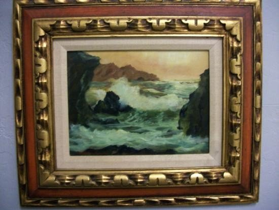 Antique Seascape with Rocks Signed - Stanley W Woodward