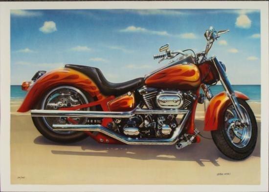 Valter de Morais Signed Motorcycle Art Print Cool Ride