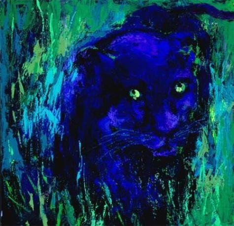 Portrait of Black Panther Signed Neiman LE Art Print