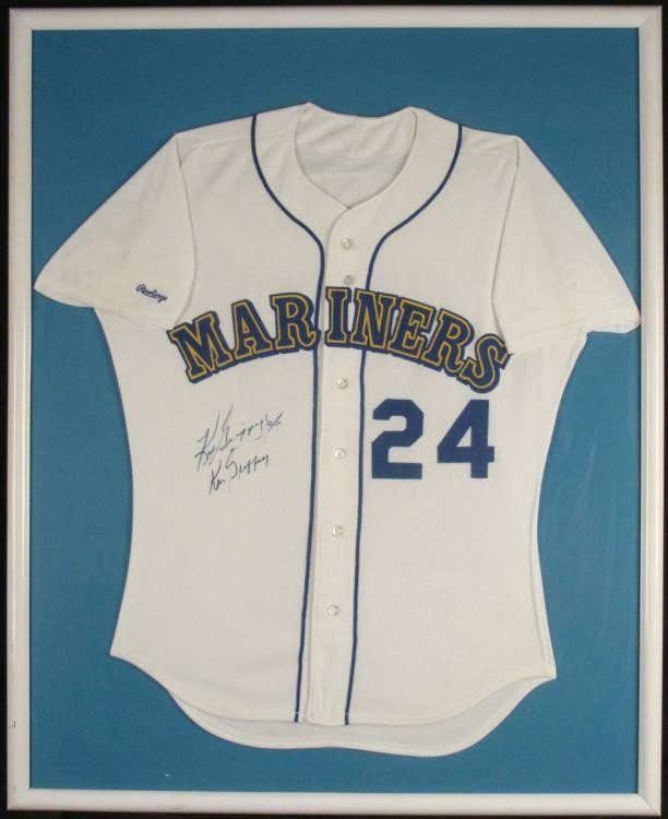Ken Griffey Jr & Sr Double Signed Mariners Jersey Frmd