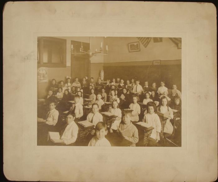 Antique Photograph Old Grade School Classroom Children