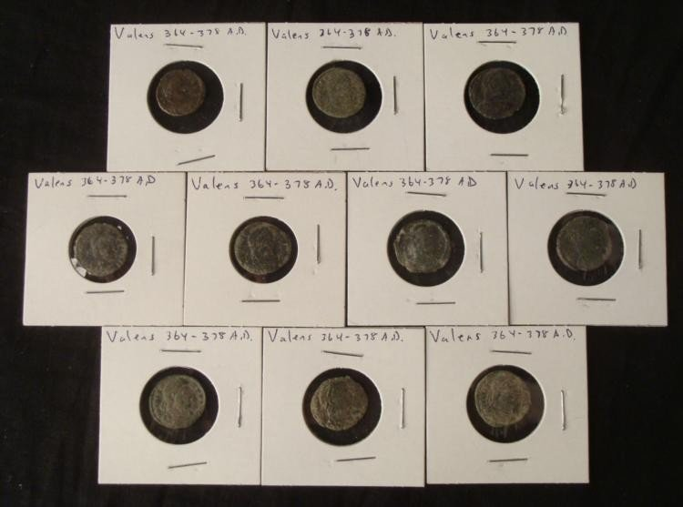 10 Diff Ancient Valens 364-378 A.D. Roman Coins