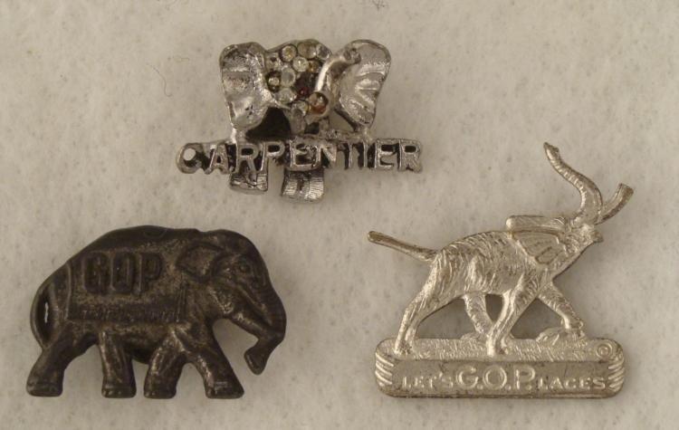 3 Antique G.O.P. Elephant Button Lapel Pins