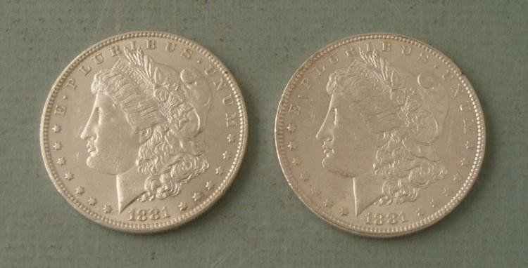 Two High Grade 1881-O Silver Morgan Dollar Coins