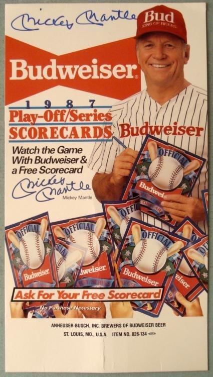 Autographed Mickey Mantle 1987 Scorecard Budweiser