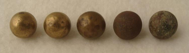 5 U.S. Colonial Era Ball Buttons 1800s