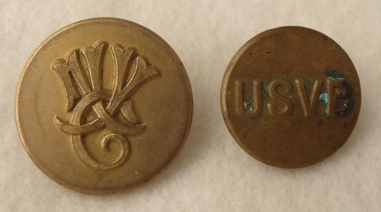2 Civil War Buttons NY Reserve, Virginia Volunteers