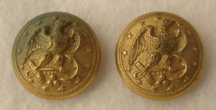 2 Spanish American War Gilt Naval Coat Buttons