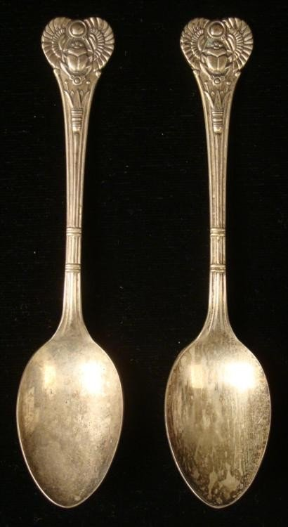 2 ANTIQUE ART DECO SCARRAB MOTIF SUGAR SPOONS