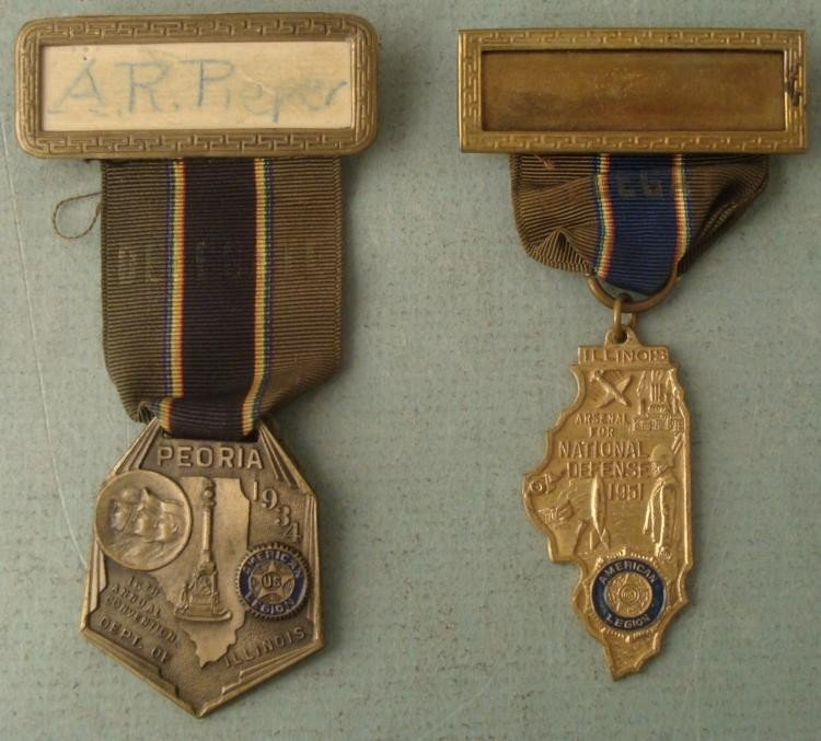 2 LT COMMANDERS AMERICAN LEGION DELIGATE BADGE MEDAL