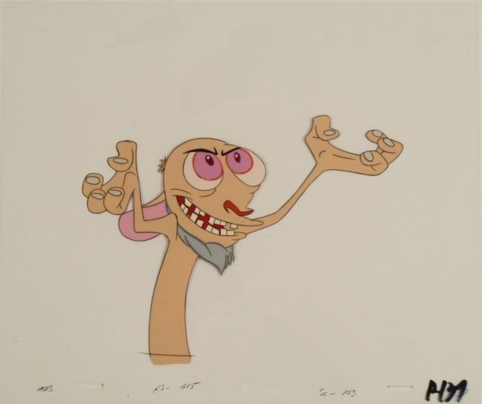 Animation Cel Original Ren And Stimpy Genius Art Beard