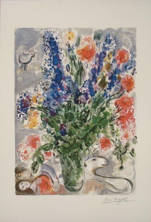 Marc Chagall : Les Lupins Bleu Blue Flowers Art Print