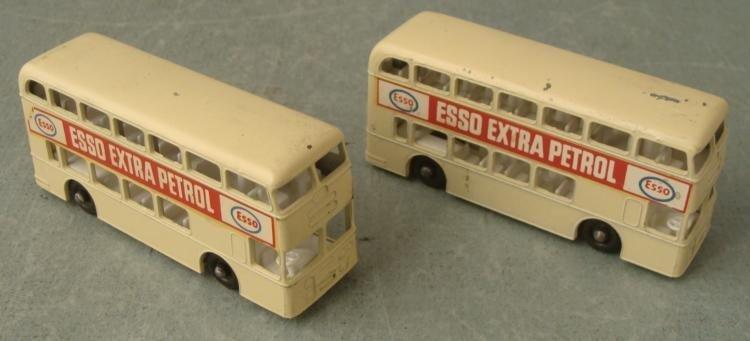 2 Matchbox No 74 Esso Daimler Buses Cream-Rare Mfg Flaw