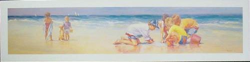 Lucelle Raad SEASCRAPE Cute Kids at Beach Art Print
