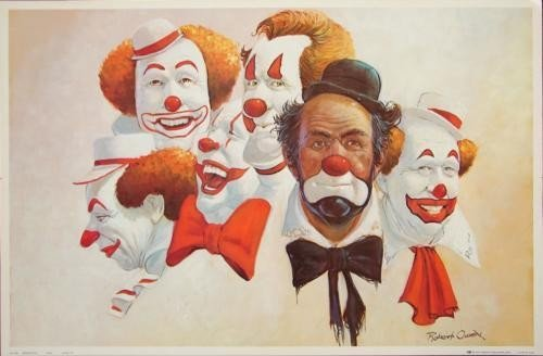 Delightful Robert Owen Colorful Clown Art BUBANK SIX