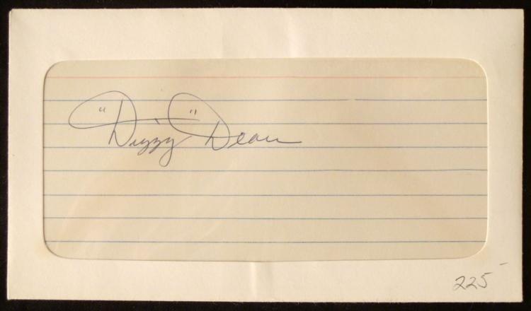 """Jay Hanna """"Dizzy"""" Dean Autographed 3x5 Index Card"""