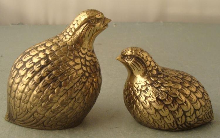 2 Solid Brass Vintage Pheasant Figurines Venus Japan