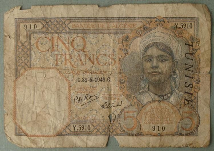 Rare 5 Francs French Algiers WWII Era Paper Money Note
