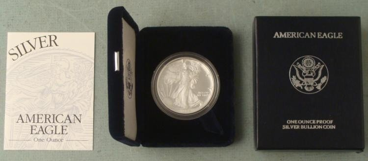 2005 American Silver Eagle Dollar $1 Proof w/Box, COA