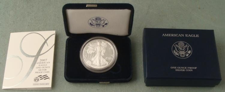 2007 American Silver Eagle Dollar $1 Proof w/Box, COA