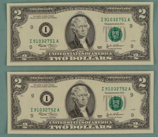 2) 2003 Consec # $2 Notes Two Dollar Bills I Mint MN CU