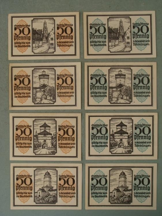 8 German 50 Pfennig CU 1919 Bills -4 Diff Images